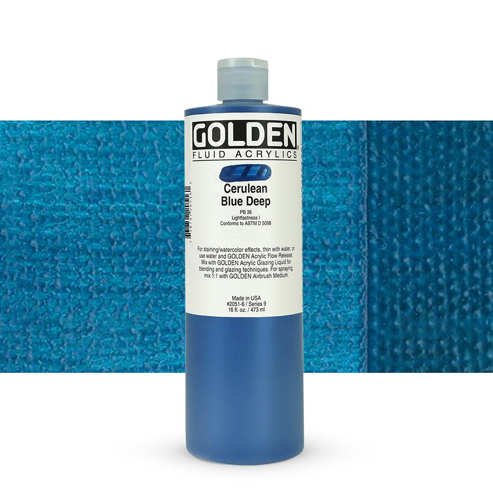 Golden : Fluid : Acrylic Paint : 473ml (16oz) : Cerulean Blue Deep IX