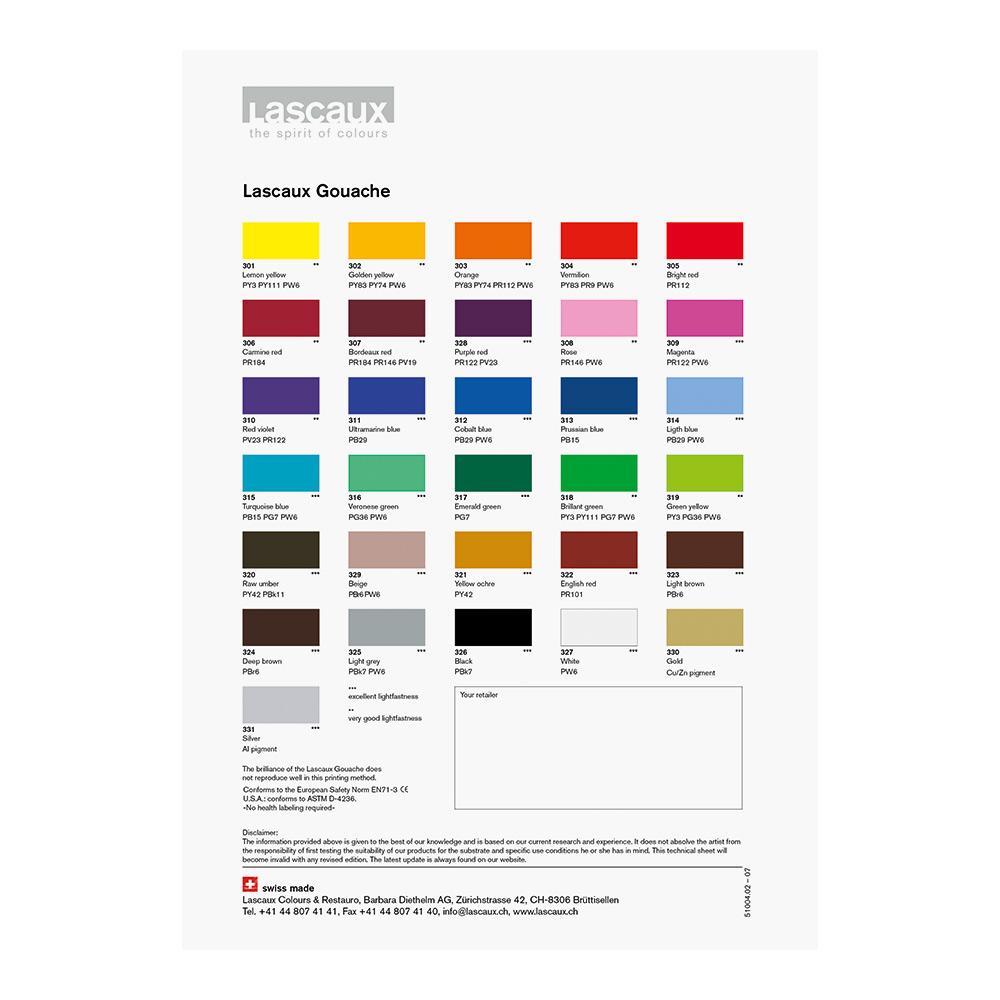 Lascaux Gouache Hand Painted Colour Chart Jacksons Art Supplies