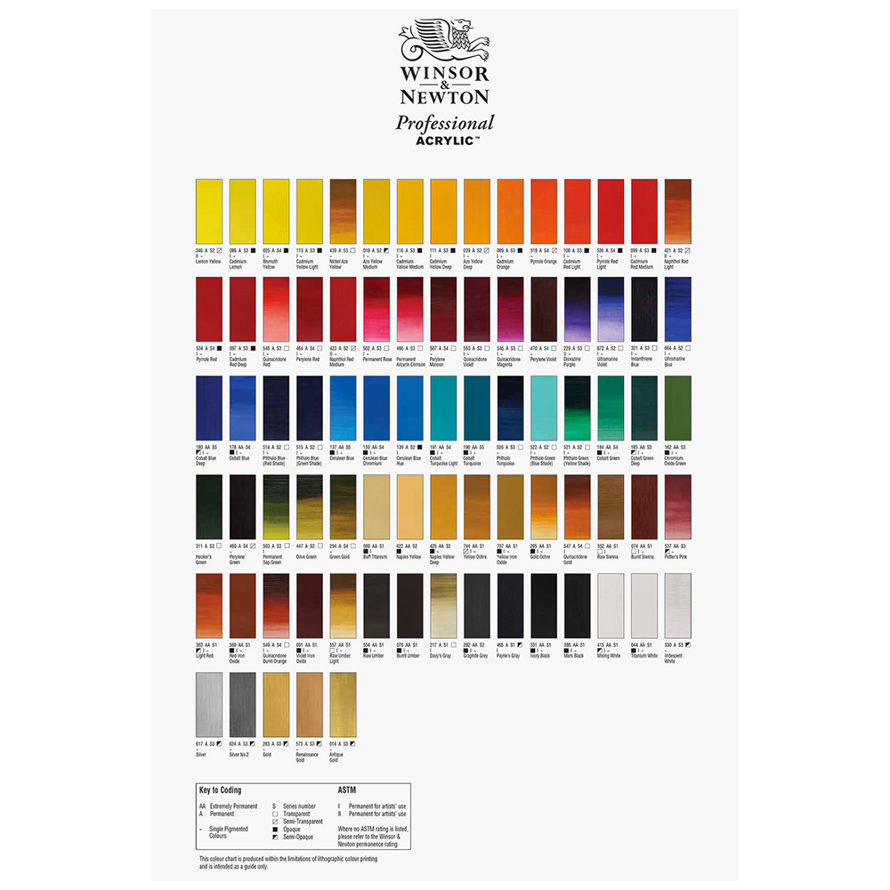 Winsor Newton Hand Painted Professional Acrylic Colour Chart Jackson S Art Supplies