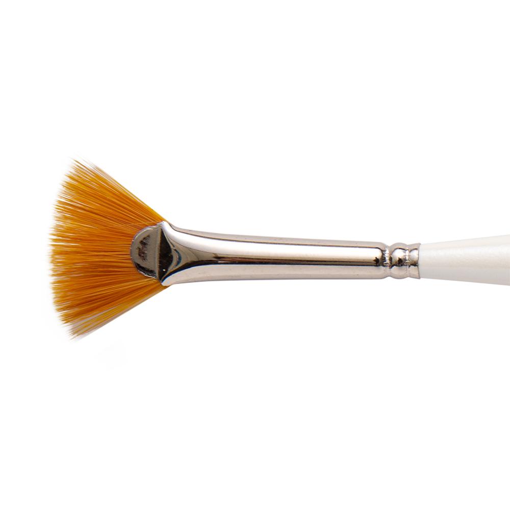 Silver Brush 2404S-12//0 Ultra Mini Short Handle Golden Taklon Brush Size 12//0 Fan