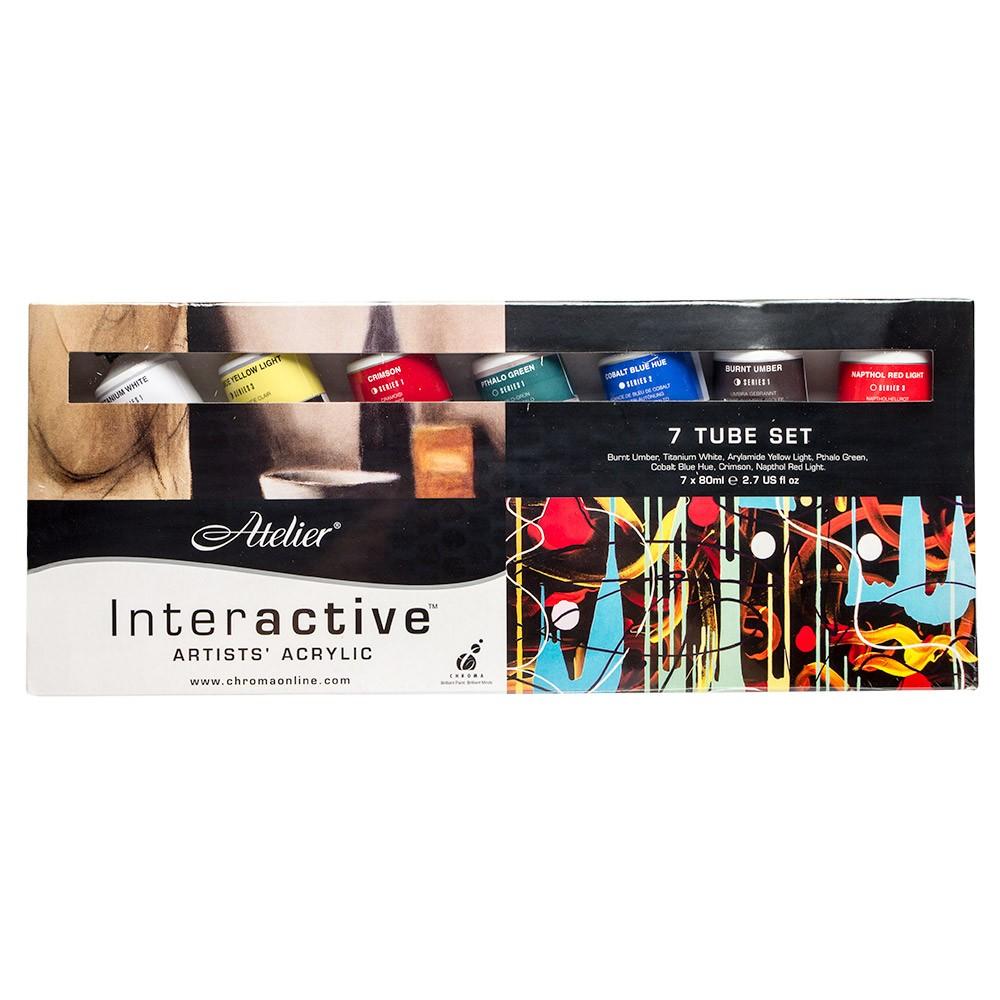 Atelier : Interactive : Artists' Acrylic Paint : 80ml : Set of 7