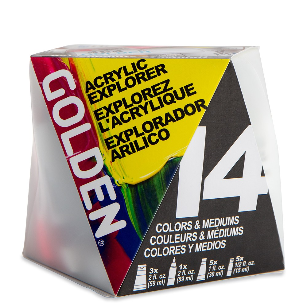 Golden : Heavy Body : Acrylic Paint : A-Z Box Set : Set Of 14 Samples
