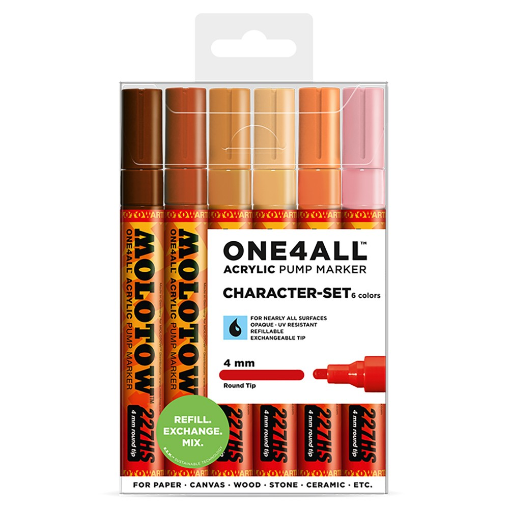 Molotow : One4All : 227HS : Acrylic Marker : Character Set : 6 Colours