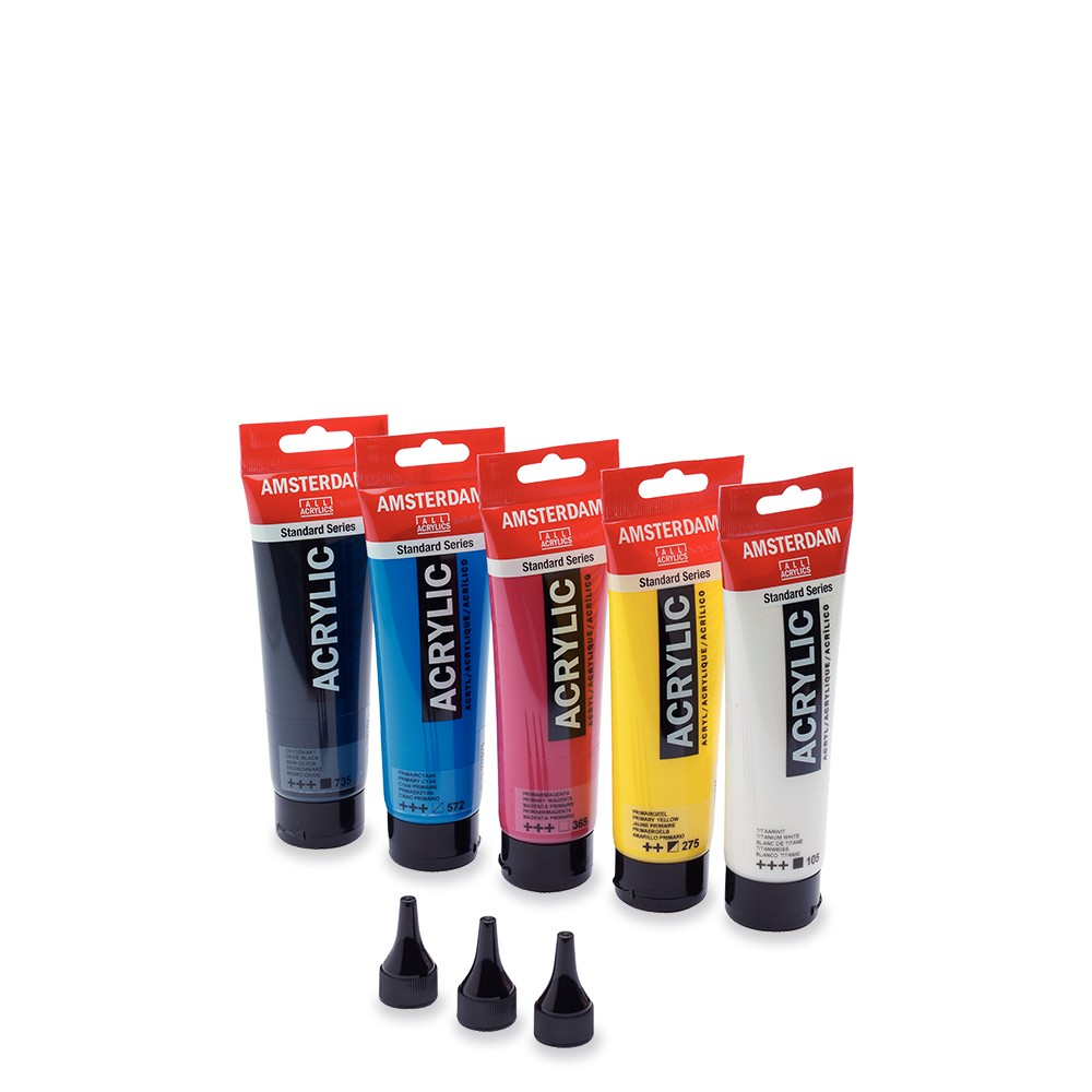 Royal Talens : Amsterdam Standard : Acrylic Paint : 120ml : Primary Set of 5 : Plus Nozzles