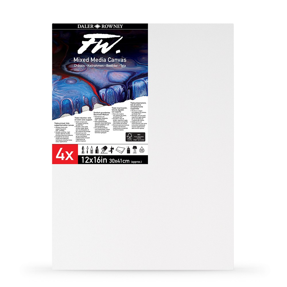 Daler Rowney : FW : Mixed Media Canvas : 12x16in : Pack of 4