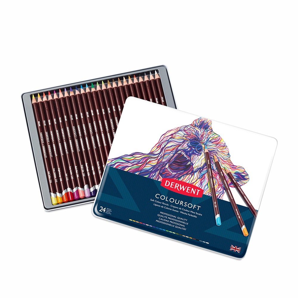 Derwent : Coloursoft Pencil : Metal Tin Set of 24