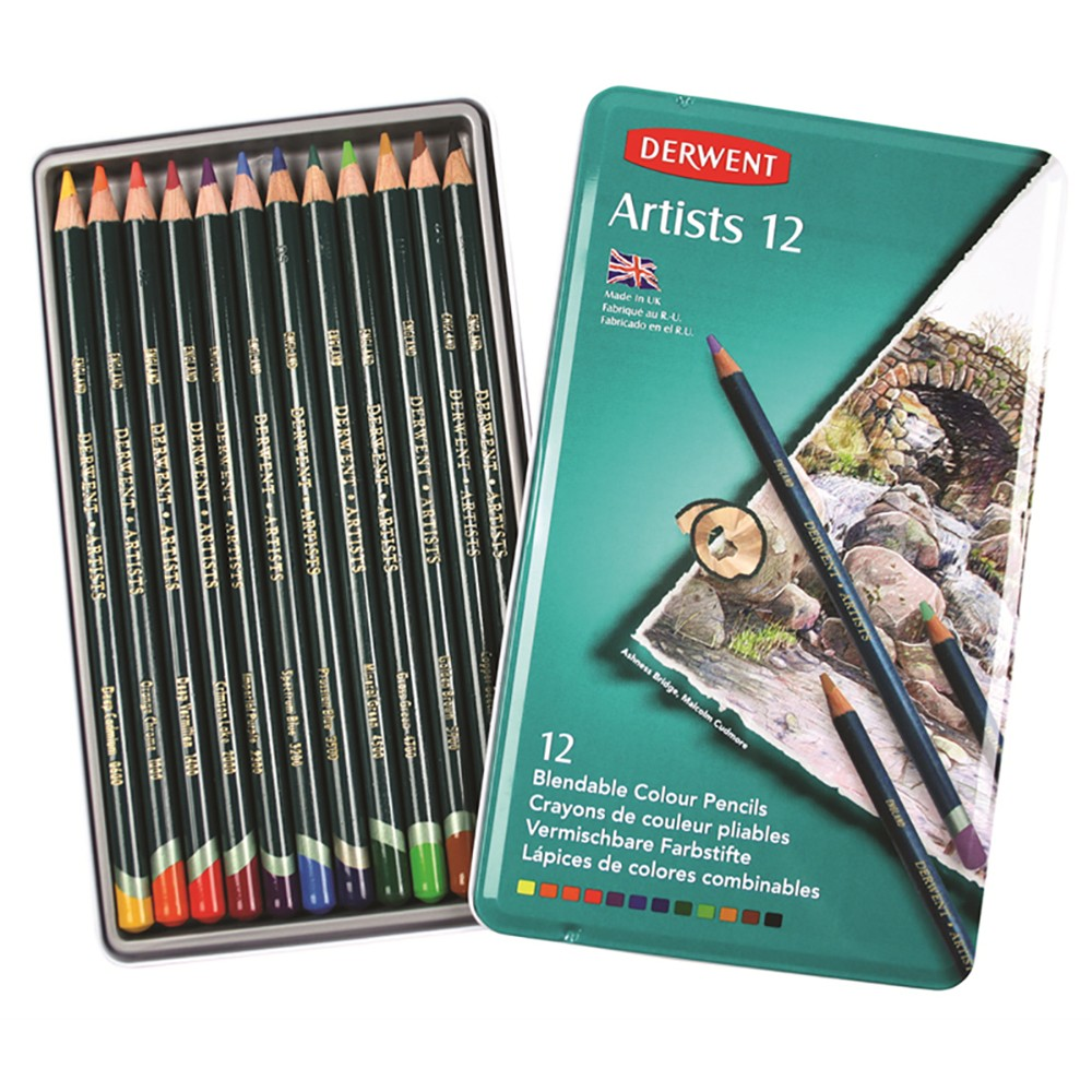 Derwent : Artists 12 Coloured Pencil Set in Metal Tin