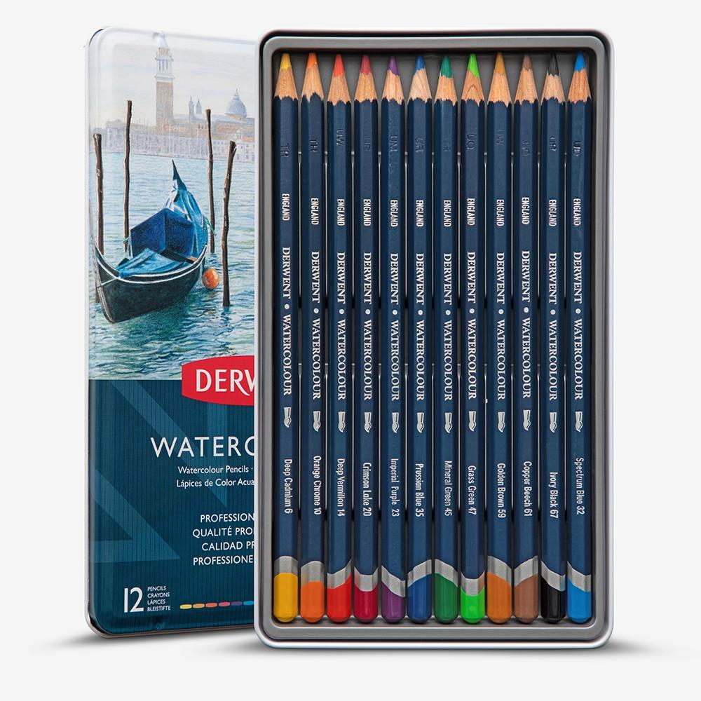 Derwent : Watercolour Pencil : Tin Set of 12