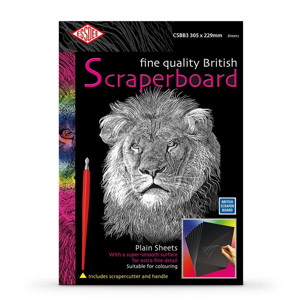 Essdee : Scraperboard : Black coated White : 305x229mm : Pack of 10 Sheets