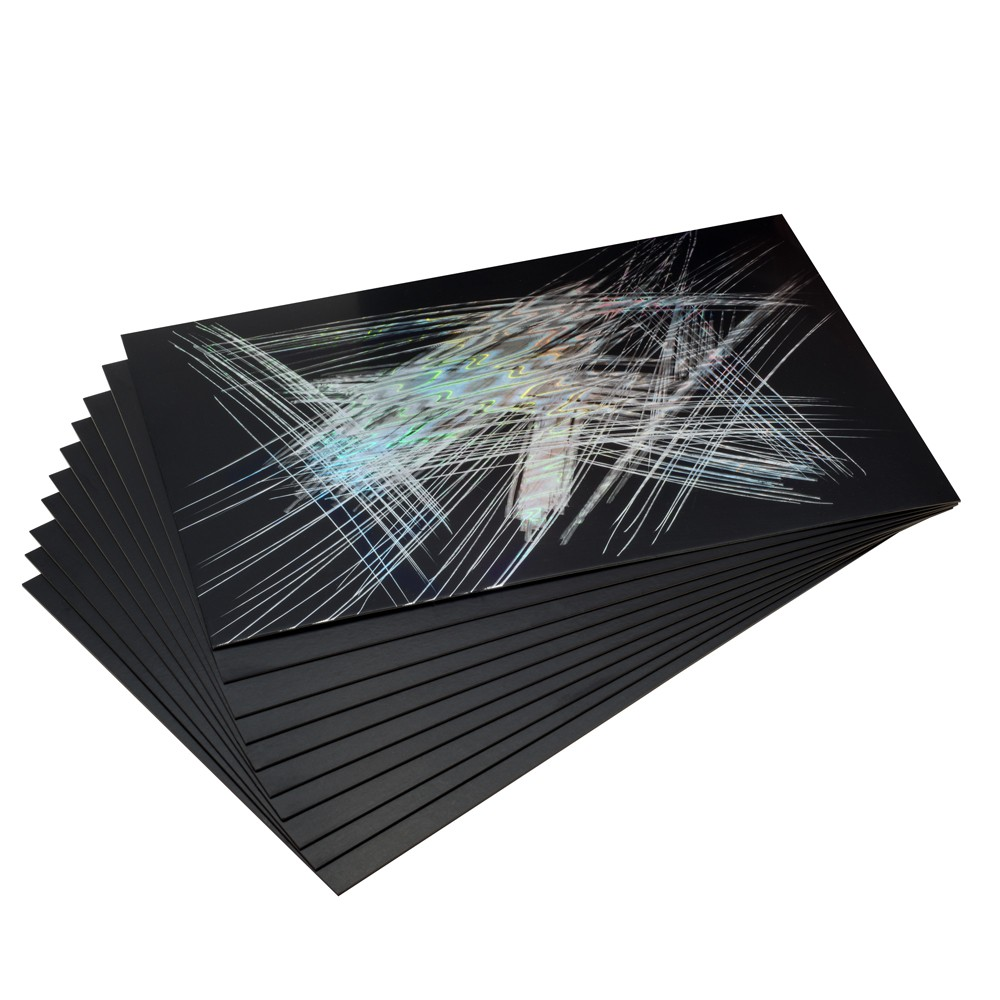 Essdee : Scraperfoil : Black coated Holographicfoil : 305x229mm : Pack of 10 Sheets