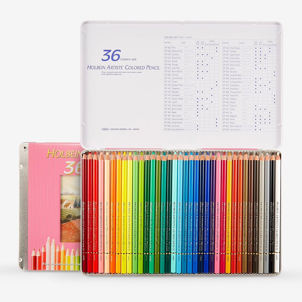 Holbein : Artists' Coloured Pencil : Set of 36