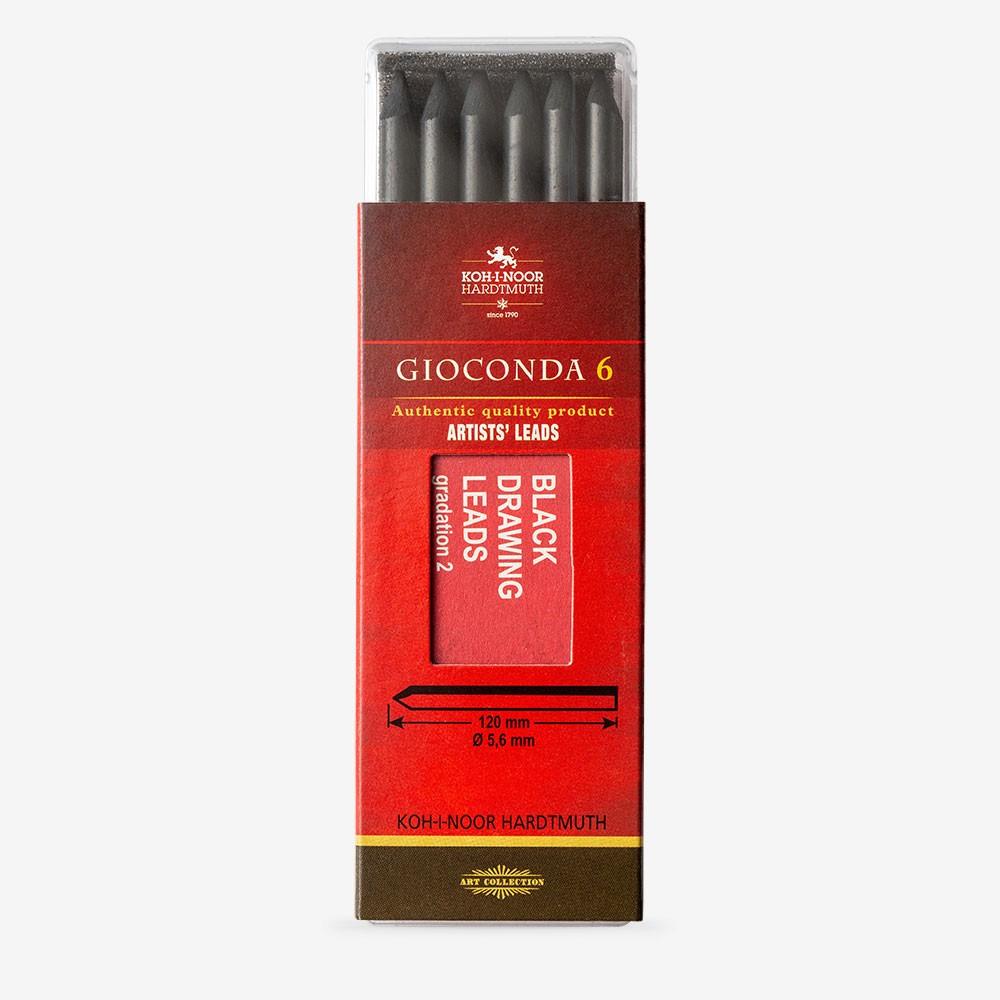 Koh-I-Noor : 5.6mm Lead : 6 x Medium Black Gioconda Negro 120mm 4345 2