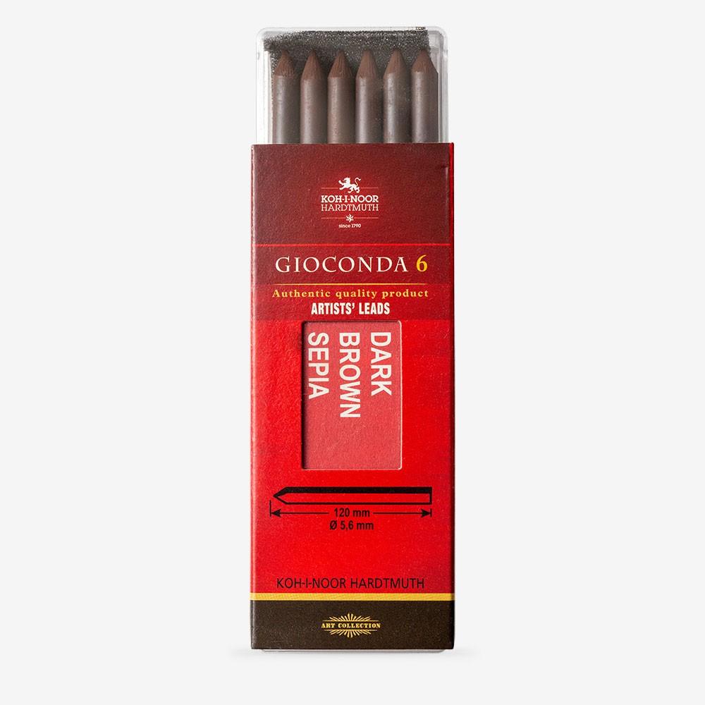 Koh-I-Noor : 5.6mm Lead : 6 x Sepia Dark Brown Drawing Chalks 120mm 4378