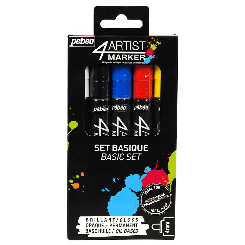 Pebeo : 4Artist Marker : Basic Set : 4mm : Set of 5 : Assorted Colours