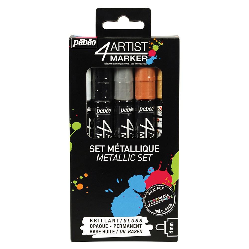 Pebeo : 4Artist Marker : Metallic Set : 4mm : Set of 5 : Assorted Colours