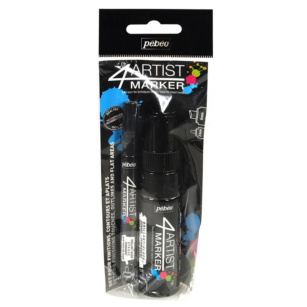 Pebeo : 4Artist Marker : Duo Set : 2mm and 8mm Nib : Set of 2 : Black