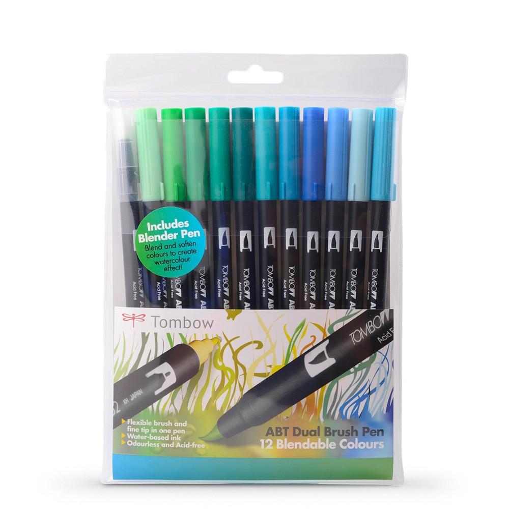 Tombow : Art Dual Brush Pens : Ocean Colours : Set of 12