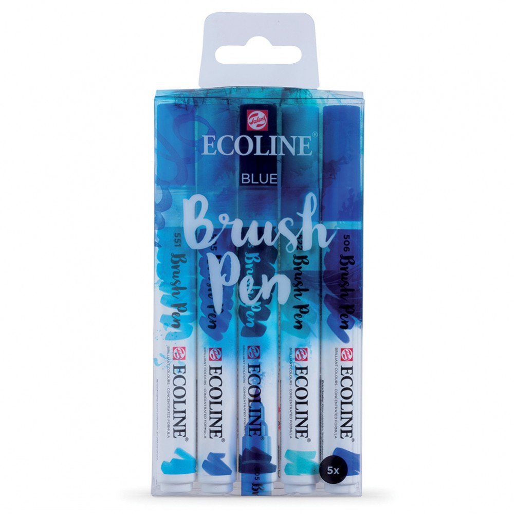 Royal Talens : Ecoline : Watercolour Brush Pen : Blue Set of 5
