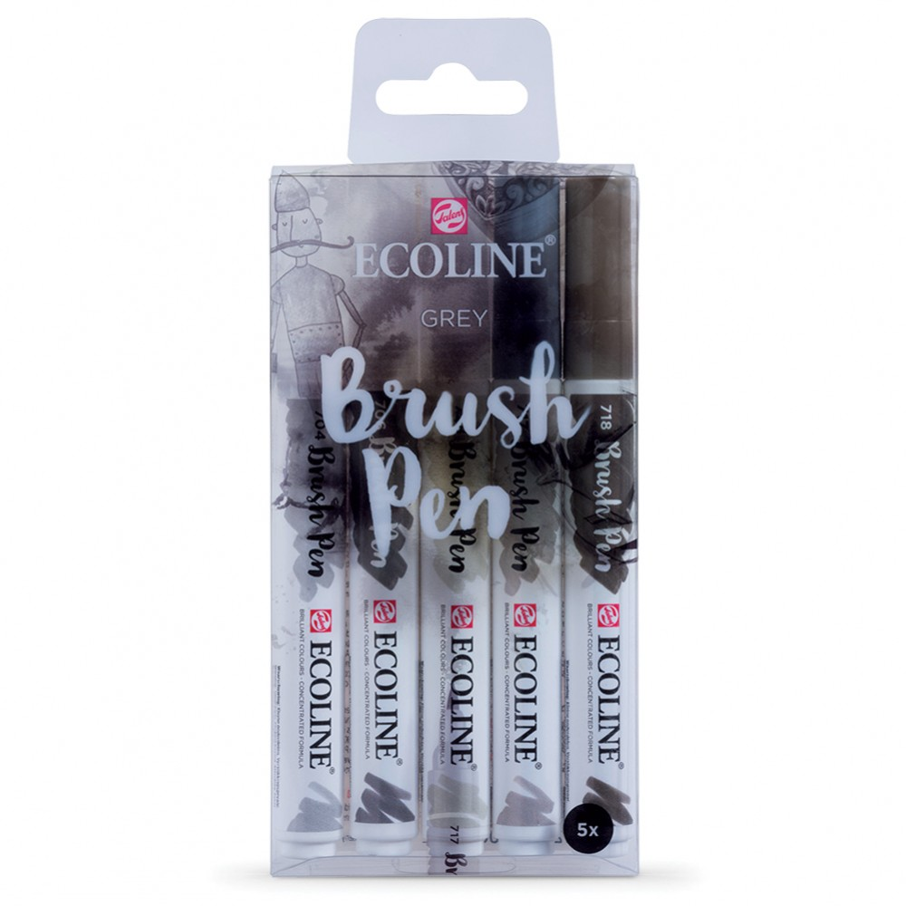 Royal Talens : Ecoline : Watercolour Brush Pen : Grey Set of 5