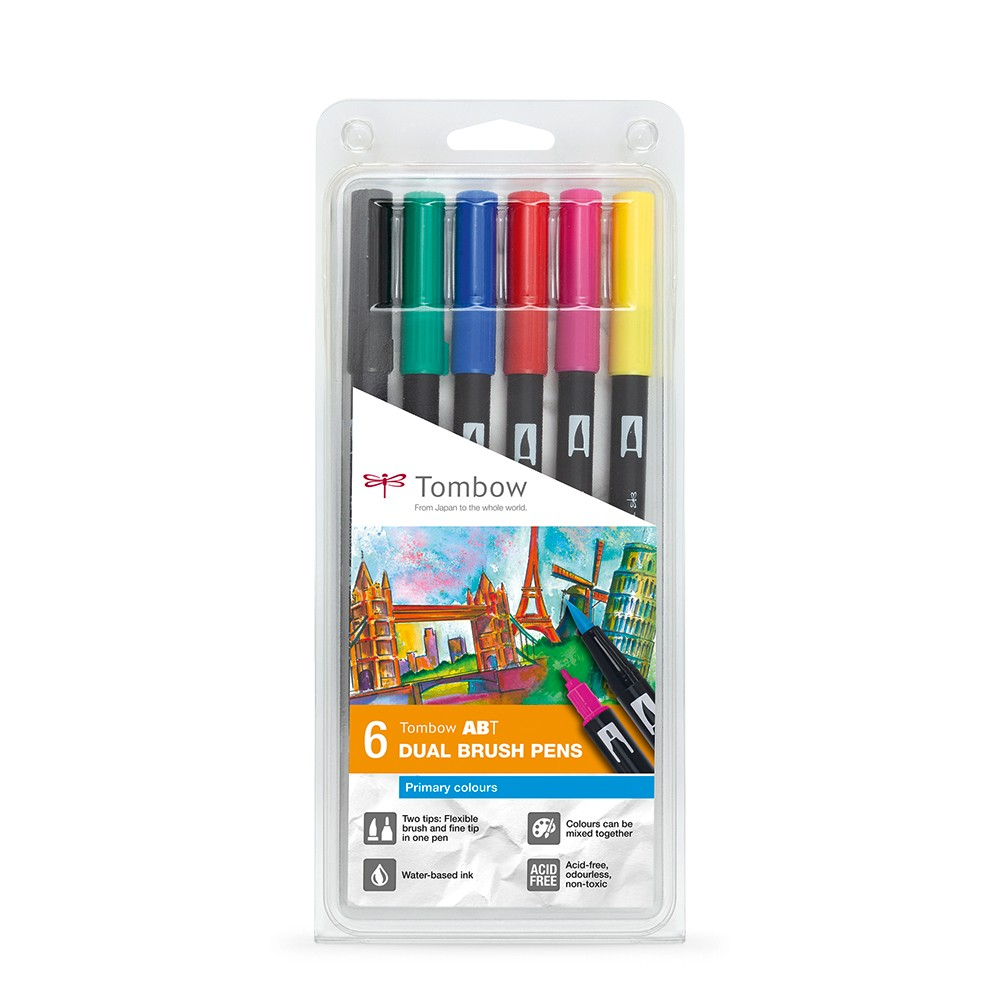 Tombow : Dual Tip Blendable Brush Pens : Primary Colours : Set of 6