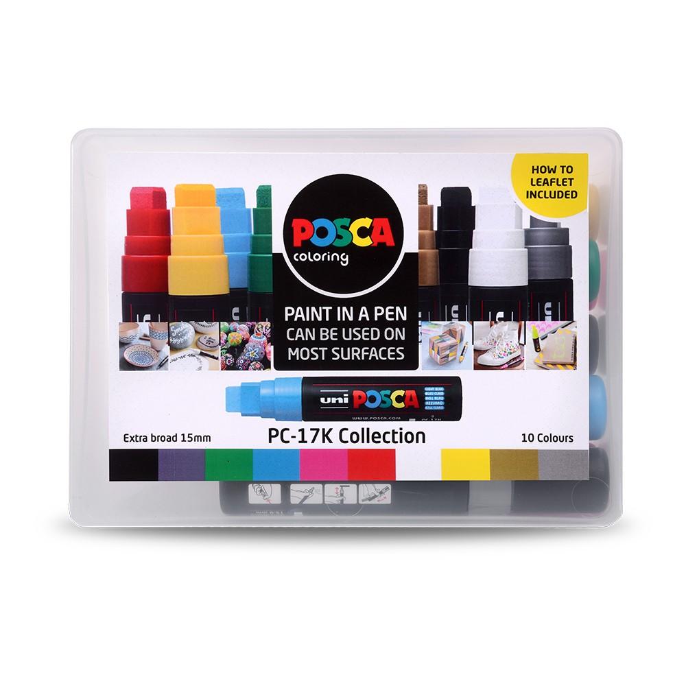 Uni : Posca Marker : PC-17K : Extra Broad Chisel Tip : 15mm : Assorted Colours Set of 10