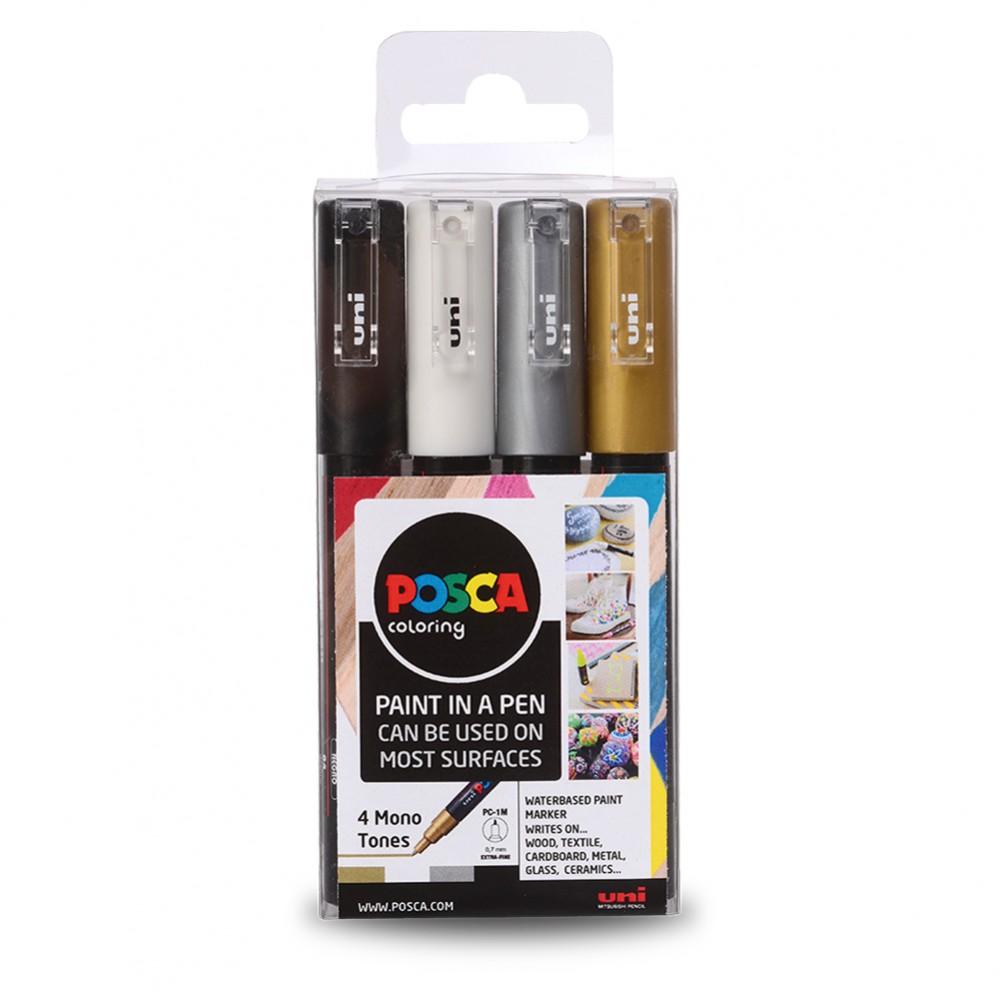 Uni : Posca Marker : PC-1M : Extra-Fine Bullet Tip : 0.7mm : Mono Tones Set of 4