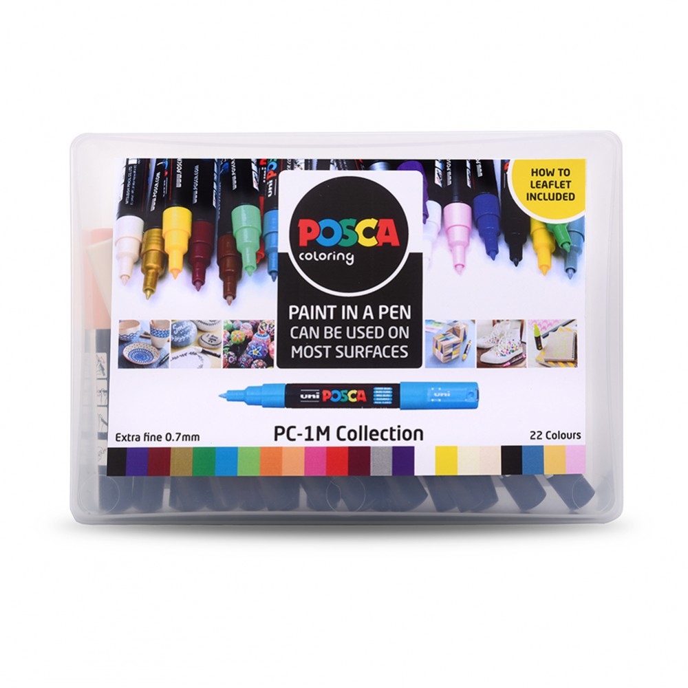 Uni : Posca Marker : PC-1M : Extra-Fine Pin Tip : 0.7mm : Assorted Colours Set of 22