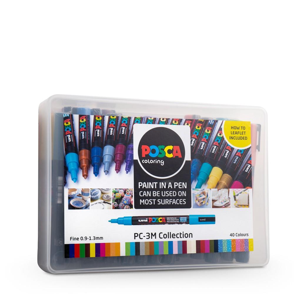 Uni : Posca Marker : PC-3M : Fine Bullet Tip : 0.9 - 1.3mm : Assorted Colours Set of 40