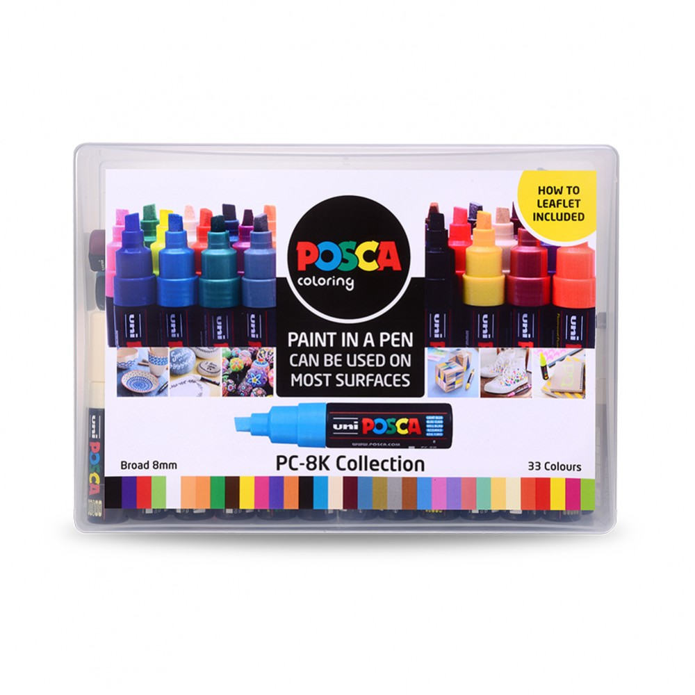 Uni : Posca Marker : PC-8K : Chisel Tip : 8mm : Assorted Colours Set of 33