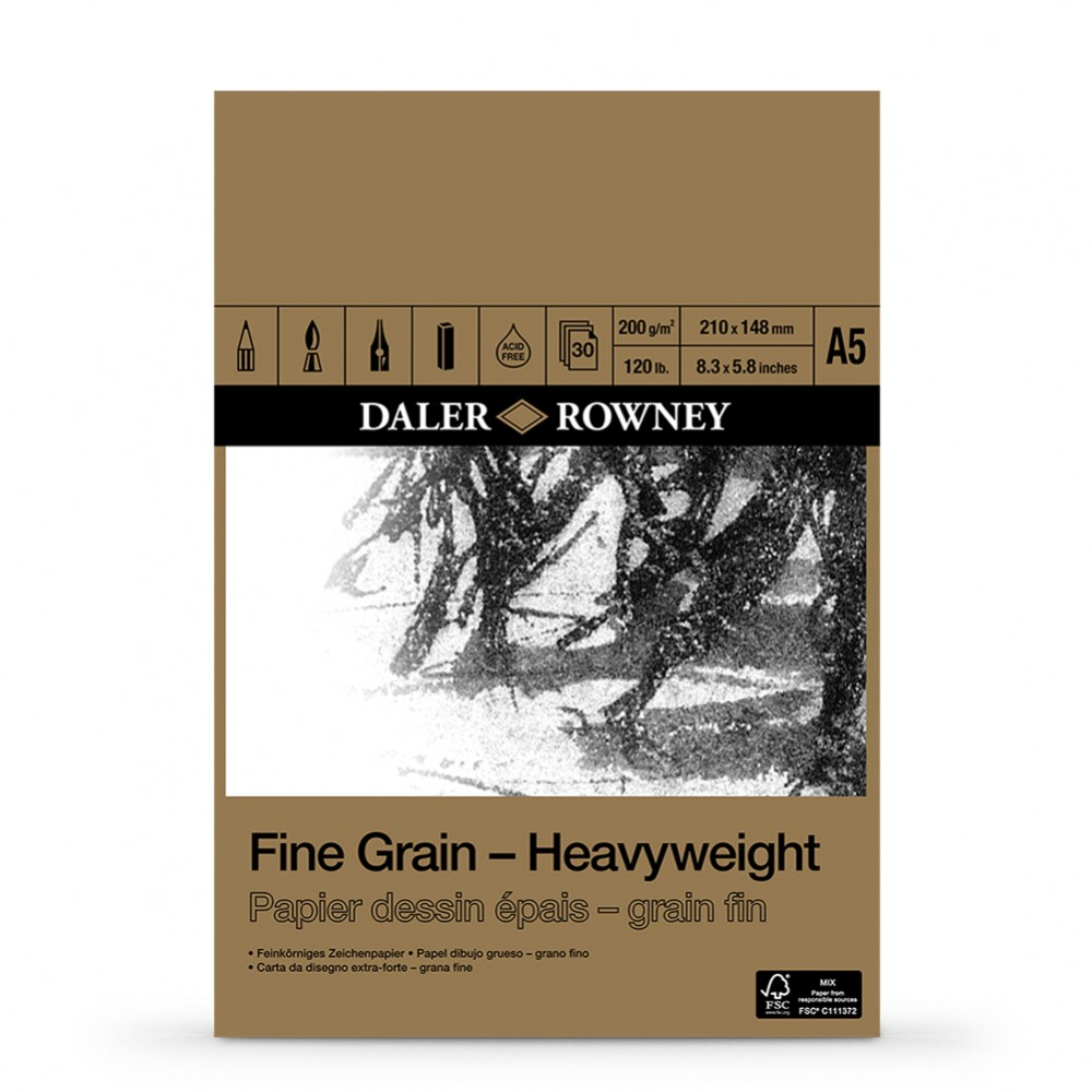 Daler Rowney : Fine Grain : Heavyweight Cartridge Pad : 200gsm : 30 Sheets : A5