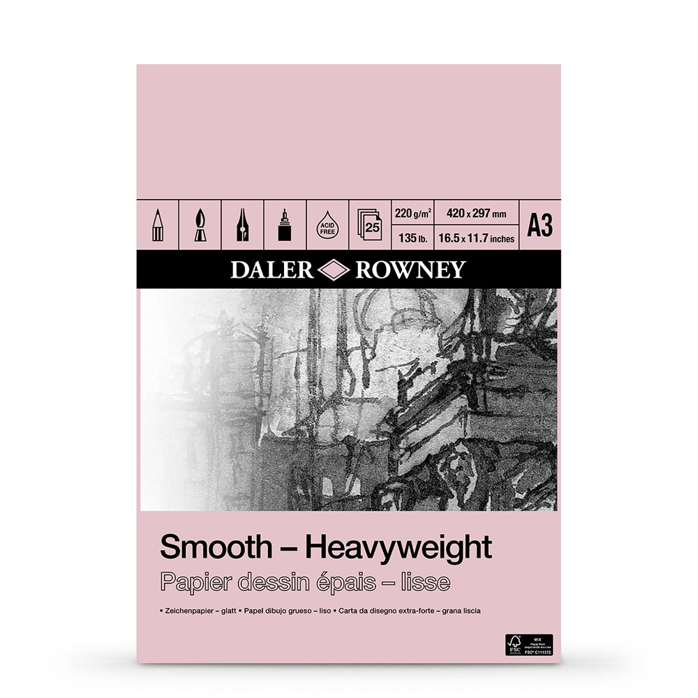 Daler Rowney : Smooth : Heavyweight Cartridge Pad : 220gsm : 25 Sheets : A3