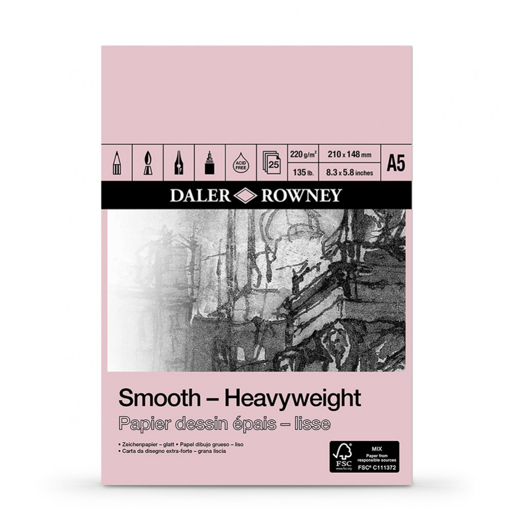 Daler Rowney : Smooth : Heavyweight Cartridge Pad : 220gsm : 25 Sheets : A5