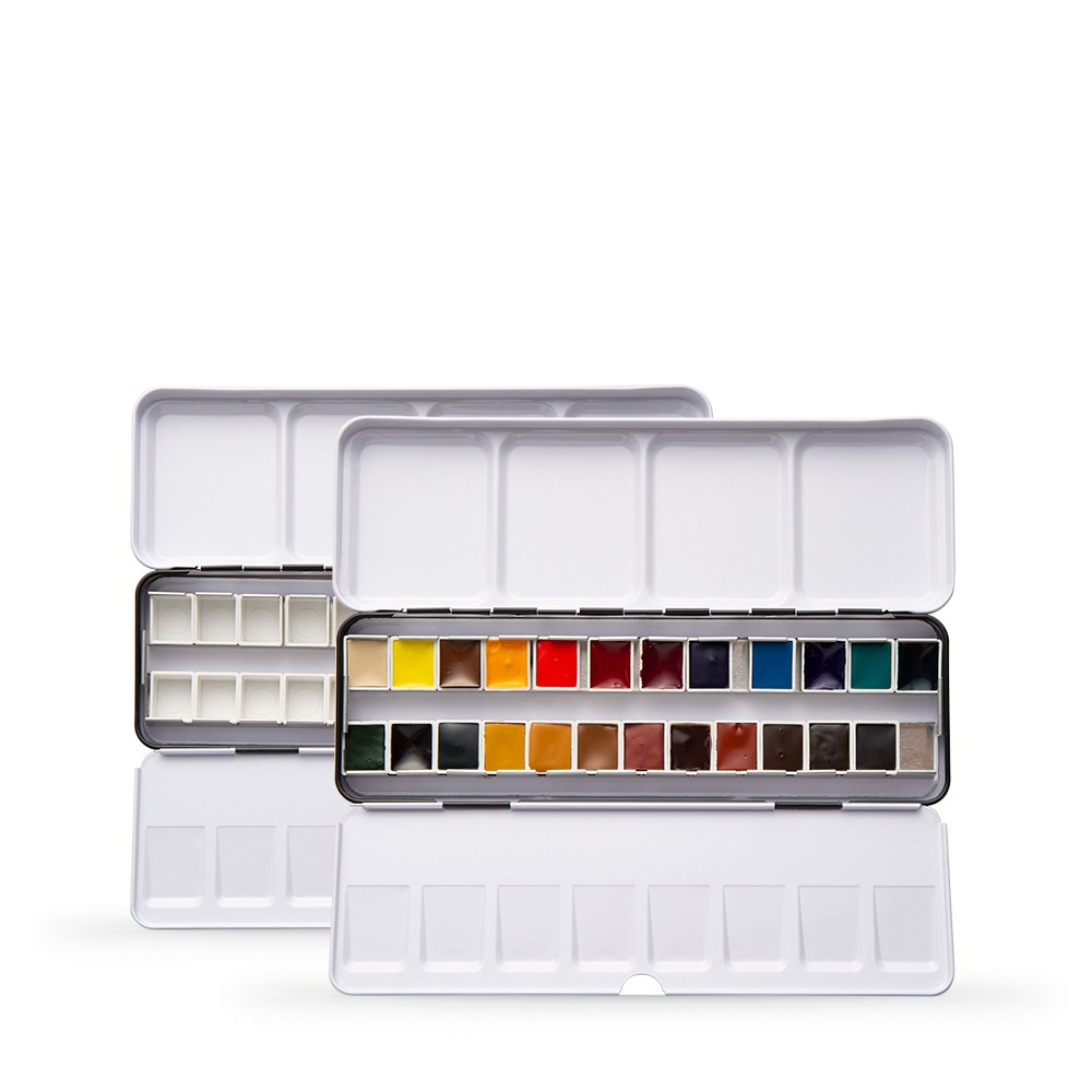 Daniel Smith : Watercolour Paint : Half Pan : Metal Box Set of 24 : Plus Extra Empty 24 Half Pan Metal Box