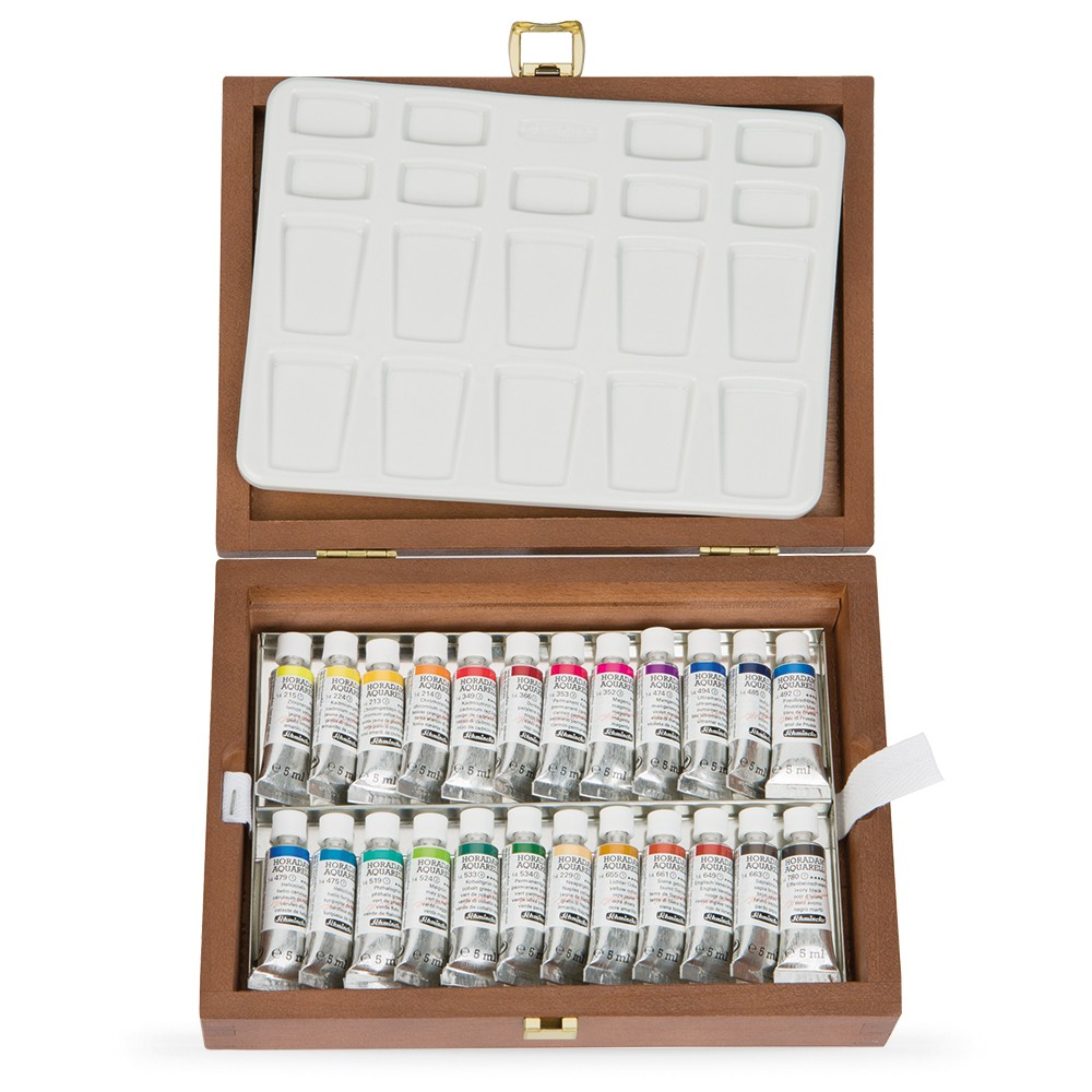 Schmincke : Horadam Watercolour Paint : Wooden Box Set : 24x5ml Tubes