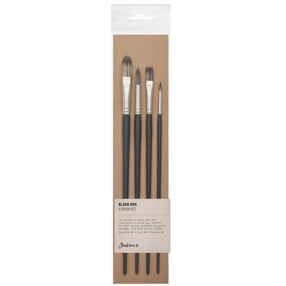 Jackson's : Black Hog Bristle Brush : Set of 4 : 2 & 6 Round, 6 Flat & 8 Filbert