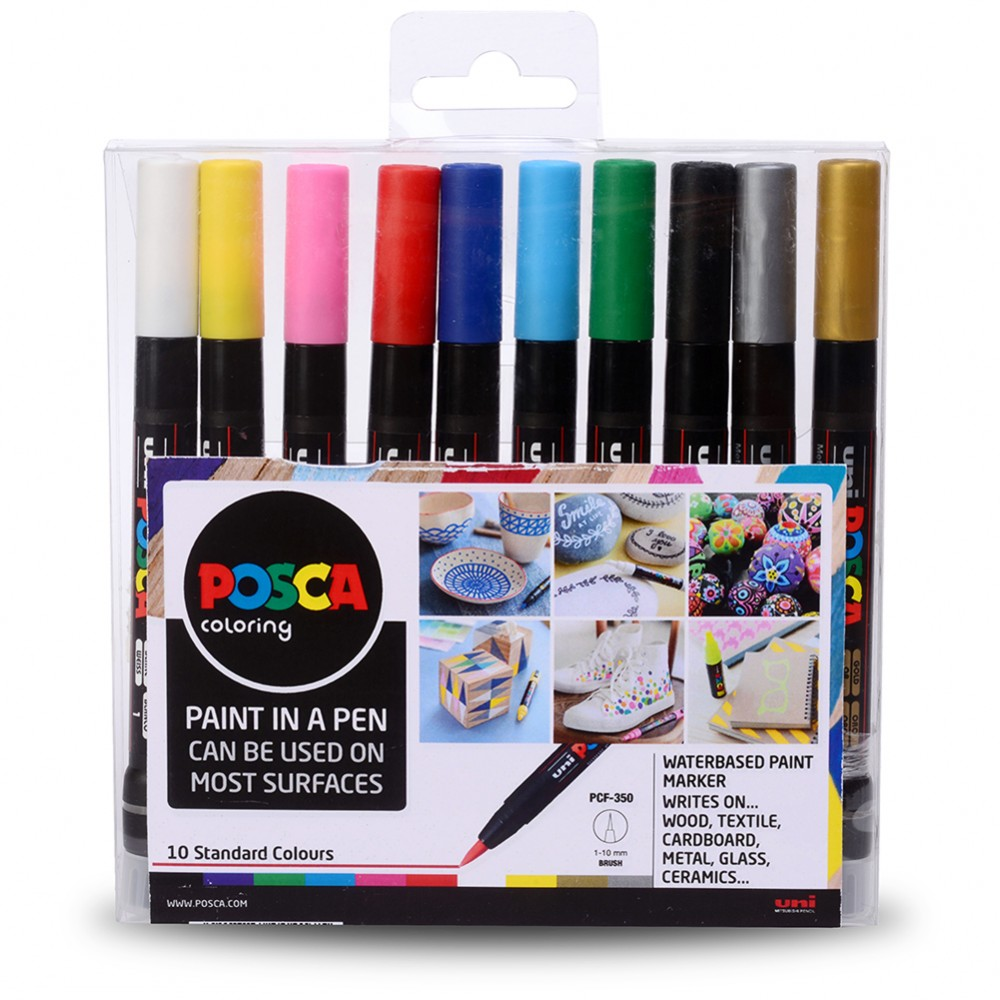 Uni : Posca Marker : PCF-350 : Brush Tip : Assorted Colours Set of 10