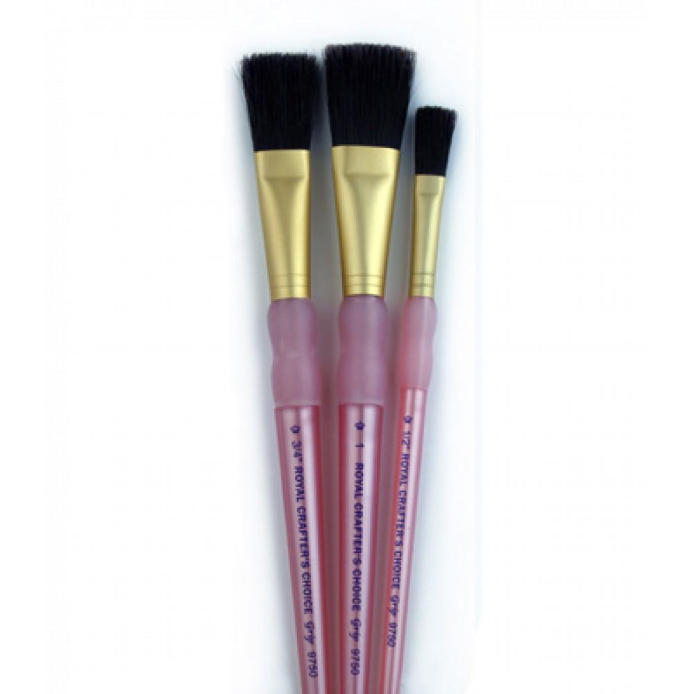 Royal Brush : 3Pc Bristle Hair Flat Brush Set