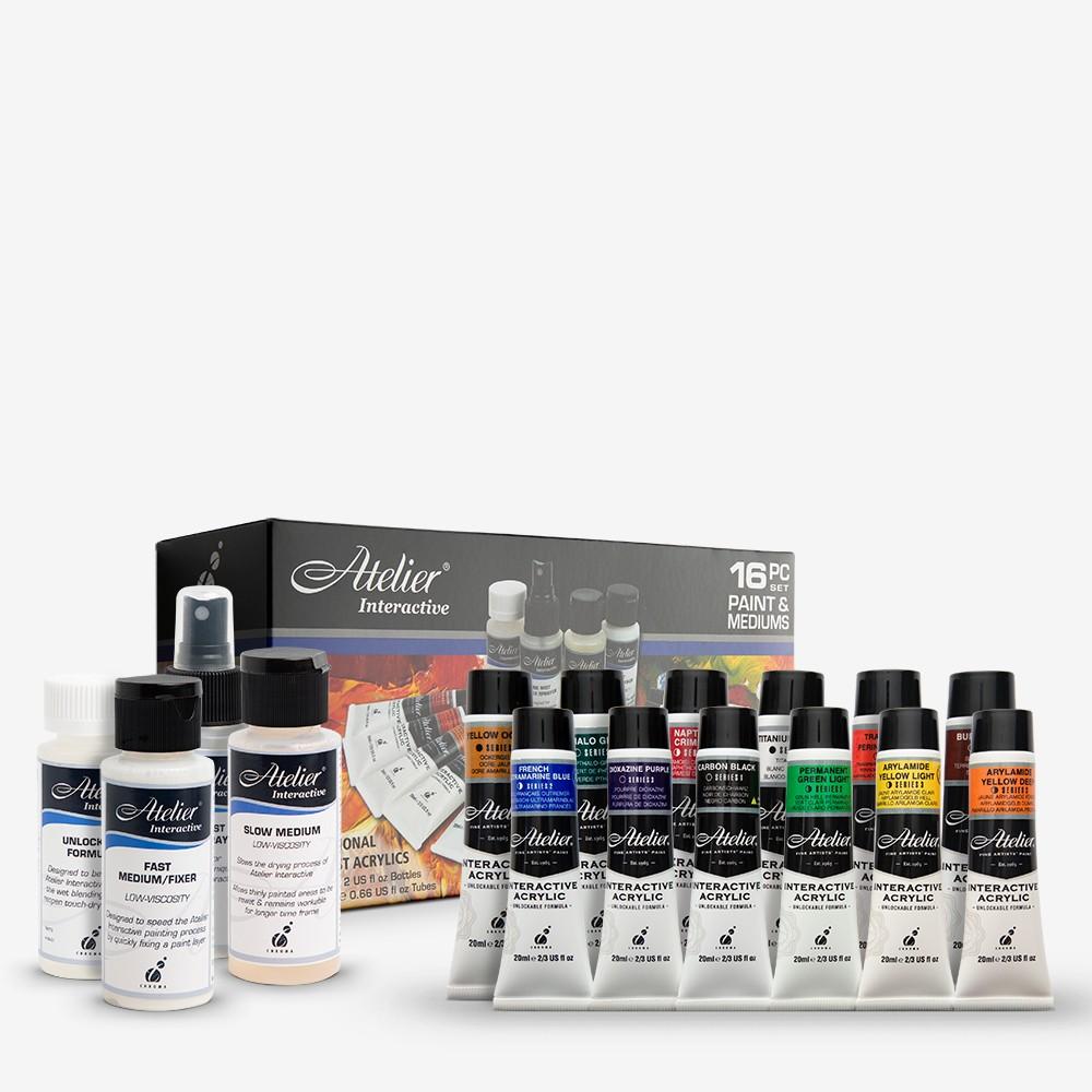Atelier : Interactive : Artists' Acrylic Paint : 20ml : Set of 12 : Plus 4 Mediums