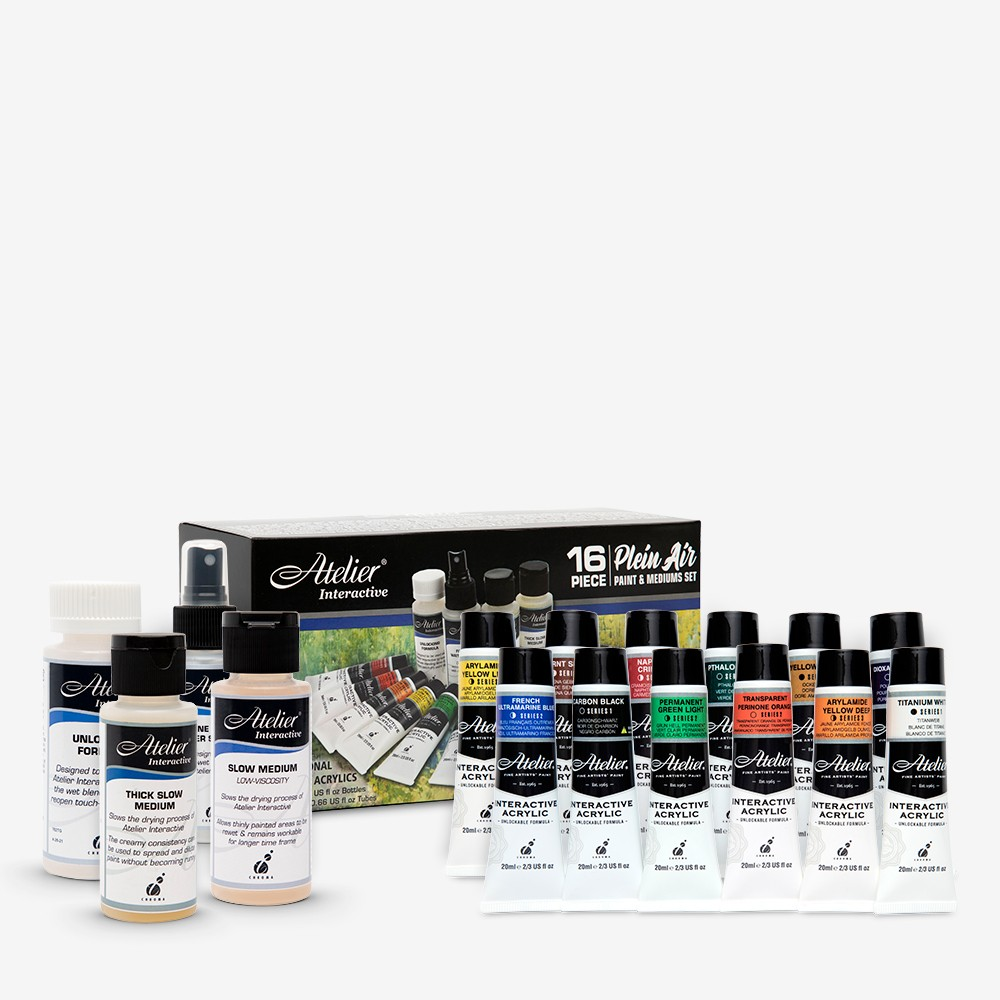 Atelier : Interactive : Artists' Acrylic Paint : Plein Air Set : 20ml : Set of 12 : Plus 4 Mediums