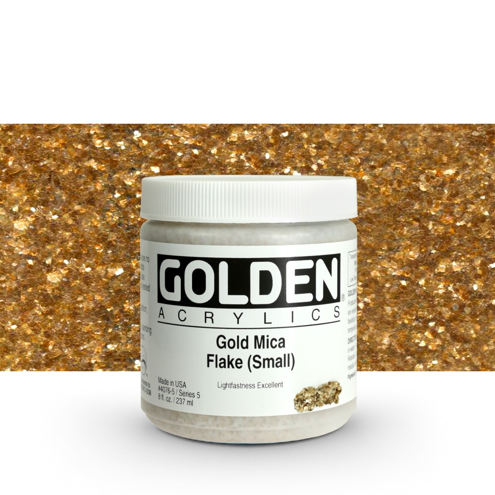 Golden : Heavy Body Acrylic Paint : 236ml : Gold Mica Flake Small Iridescent