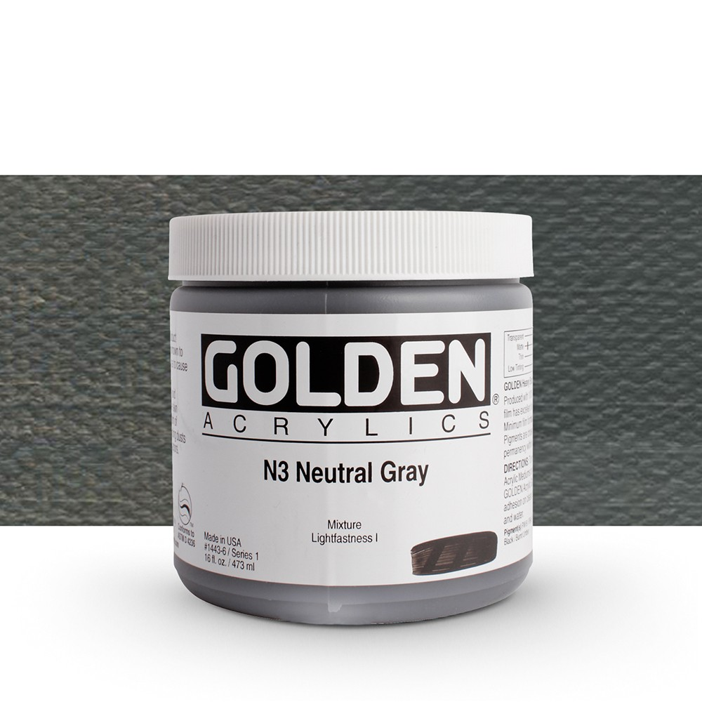 Golden : Heavy Body Acrylic Paint : 473ml : Neutral Grey No.3
