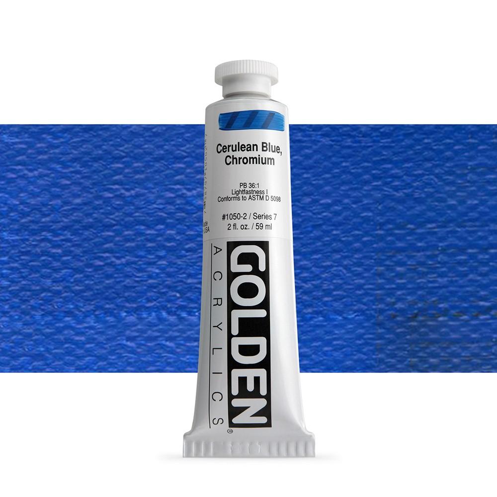 Golden : Heavy Body Acrylic Paint : 60ml : Cerulean Blue Chromium