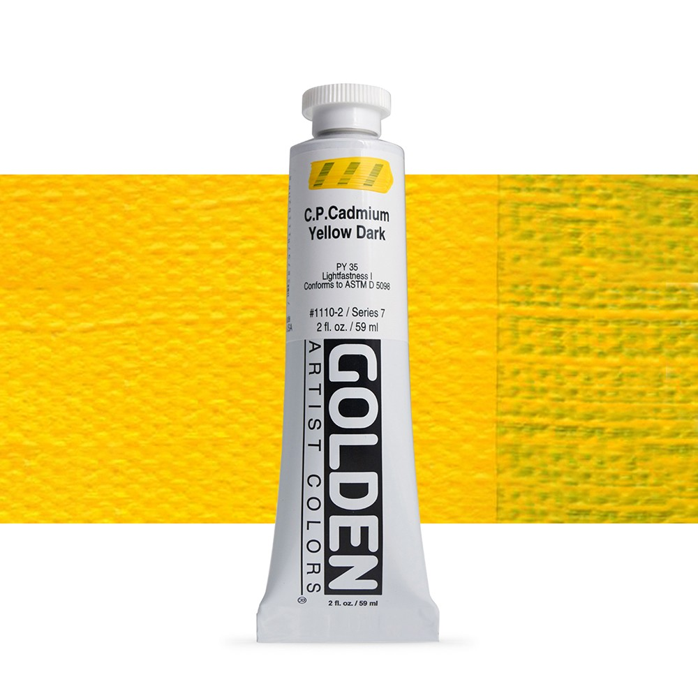 Golden : Heavy Body Acrylic Paint : 60ml : Pure Cadmium Yellow Dark