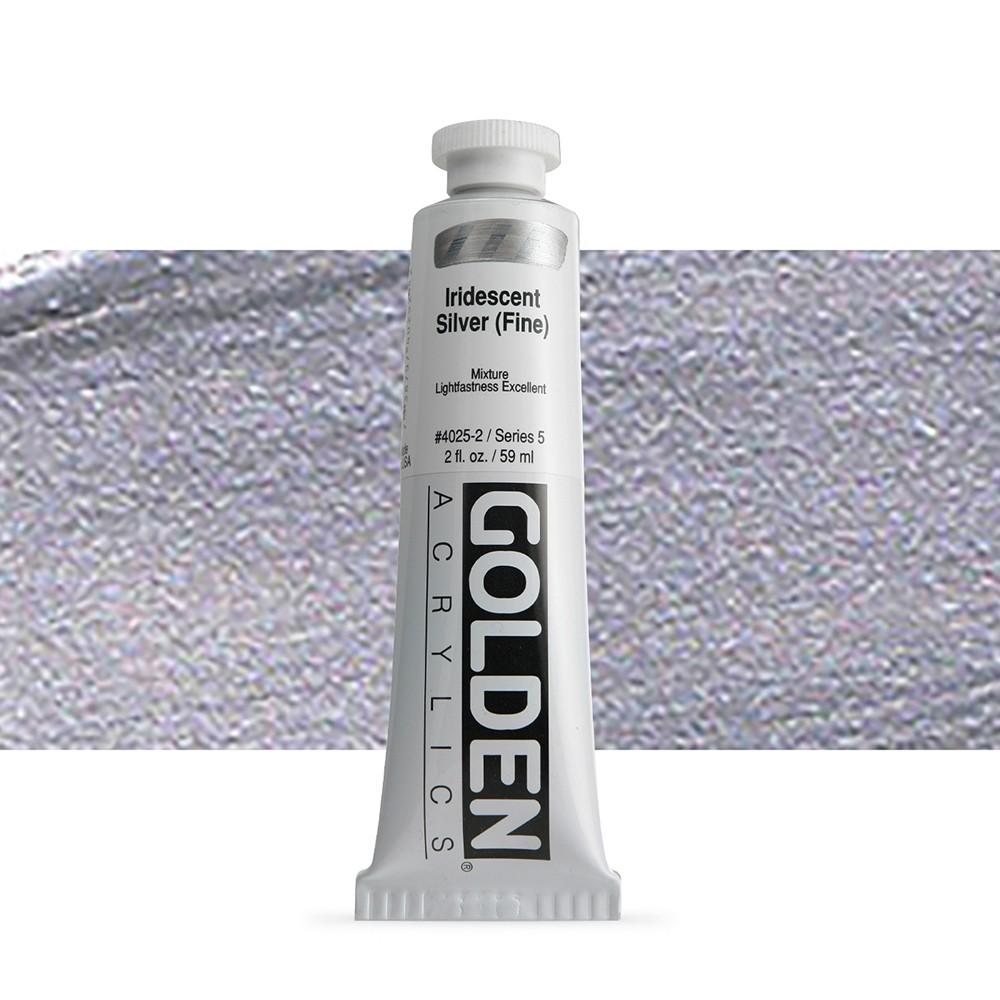 Golden : Heavy Body Acrylic Paint : 60ml : Silver Fine Iridescent