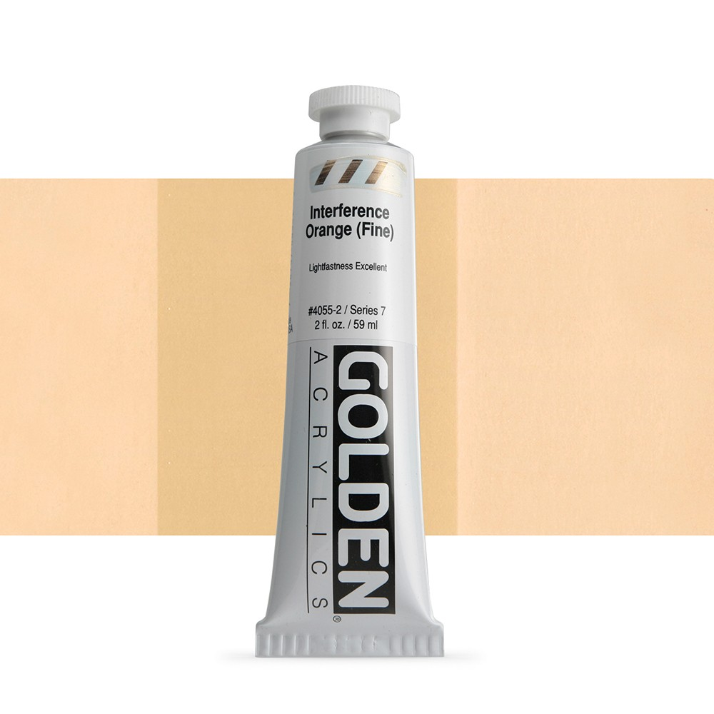 Golden : Heavy Body Acrylic Paint : 60ml : Orange Fine Interference