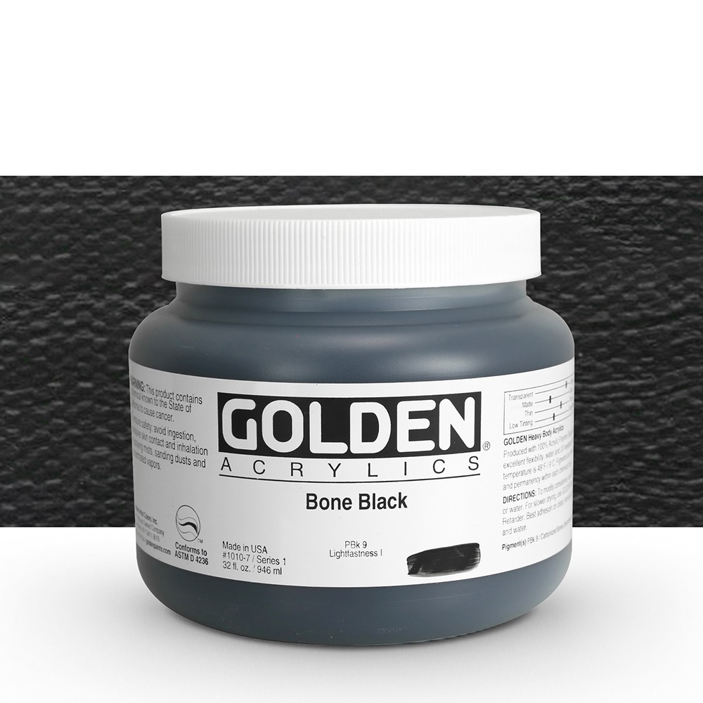 Golden : Heavy Body Acrylic Paint : 946ml : Bone Black