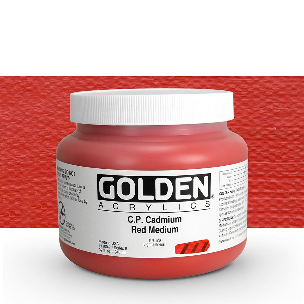 Golden : Heavy Body Acrylic Paint : 946ml : Pure Cadmium Red Medium : Please allow an extra week for delivery
