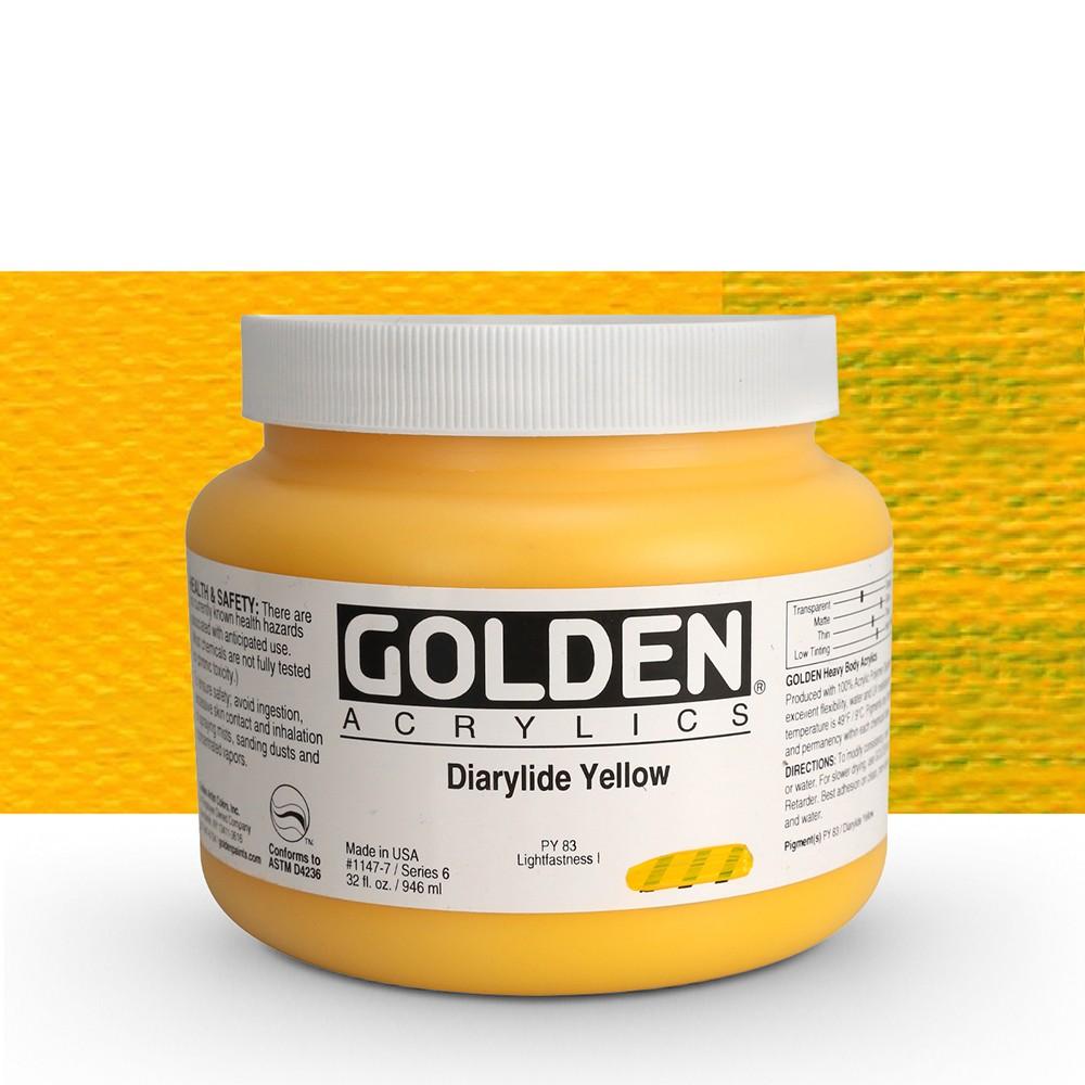 Golden : Heavy Body Acrylic Paint : 946ml : Diarylide Yellow