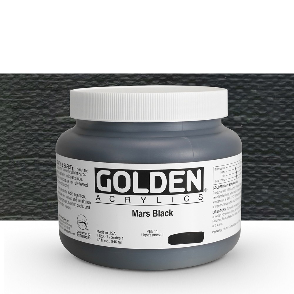 Golden : Heavy Body Acrylic Paint : 946ml : Mars Black