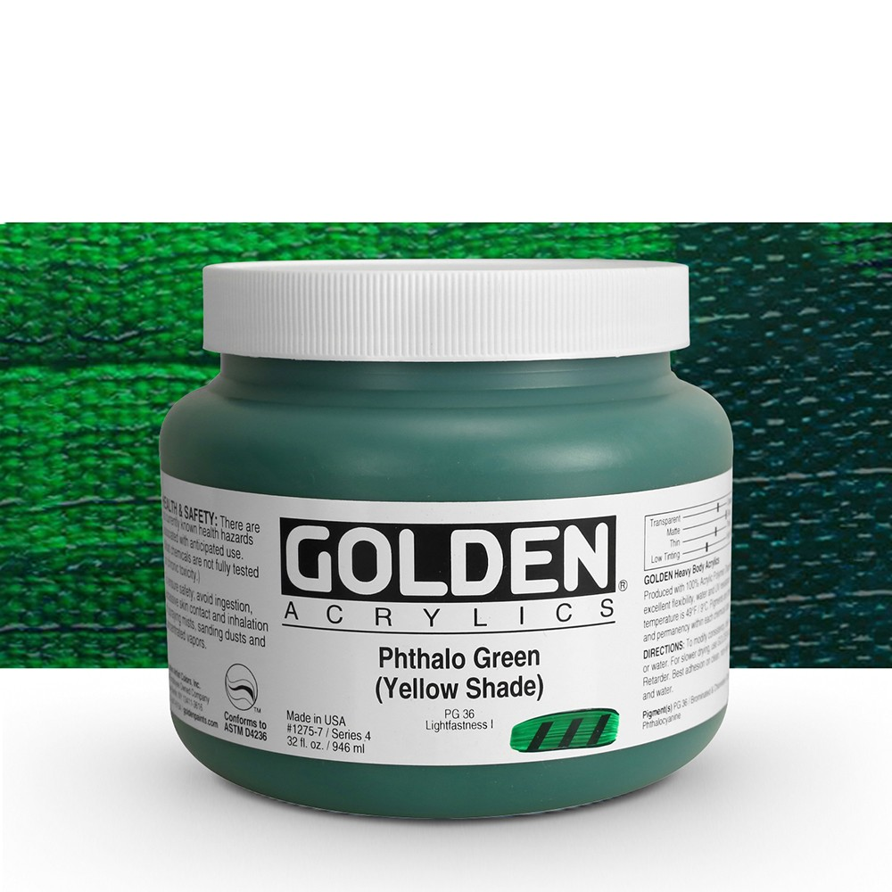 Golden : Heavy Body Acrylic Paint : 946ml : Phthalo Green Yellow Shade